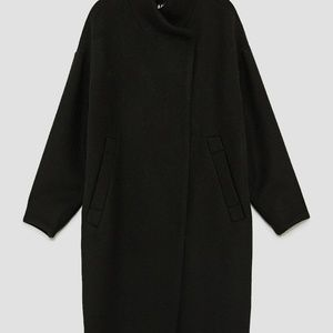 Zara Jackets   Coats - NEW ZARA BLACK LONG COAT WITH WRAPAROUND COLLAR L d520209744b3